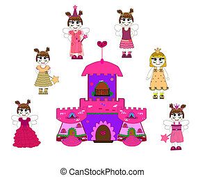 Little cute princess and castle vec