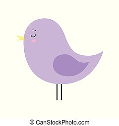 Little cute purple spring bird design. Cartoon character.