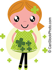 Little cute red hair girl for Saint Patrick's Day
