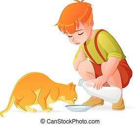 Little cute redhead boy feeding his cat with milk. Cartoon vector illustration.