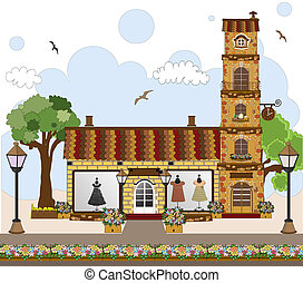 little cute retro house and store, shop or boutique - Vector...