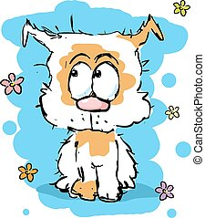 little cute shaggy puppy dog - colorful sketch