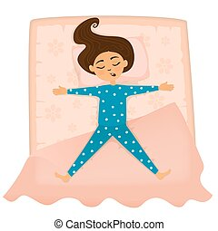 Little cute small girl sleep in bed