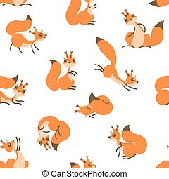 Little cute squirrels. Seamless pattern for gift wrapping,...
