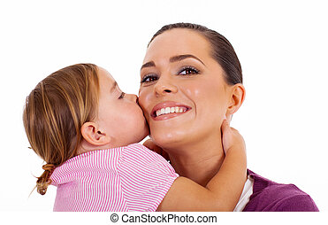 little daughter kissing mother