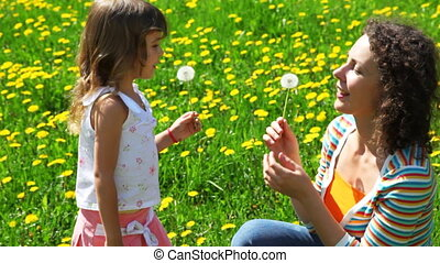 little daughter playfully blows off dandelion in face of...