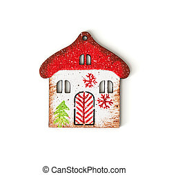 Little decorative house on the white background