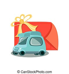 little delivery car with gift stamp