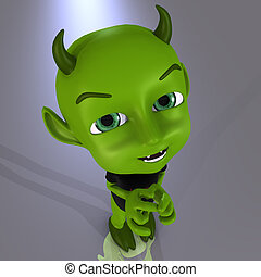 Little Devil #08 - Cute little green devil With Clipping...
