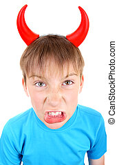 Little Devil - Angry and Naughty Kid with Devil Horns on the...