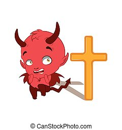 Little devil being afraid of a cross