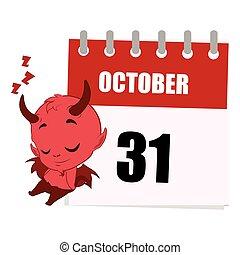 Little devil sleeping next to calendar depicting October 31