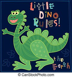 Little Dino rules the Earth embroidery character