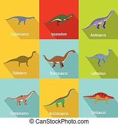 Little dinosaur icons set, flat style