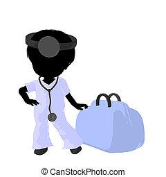Little Doctor Girl Illustration - Little doctor girl next to...