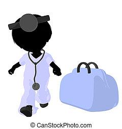 Little Doctor Girl Illustration Sil - Little doctor girl...