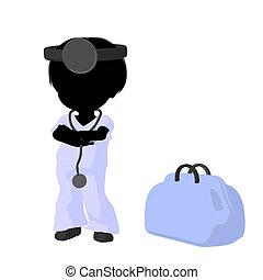 Little Doctor Girl Illustration Silhouette - Little doctor...