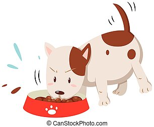 Little dog eating from the bowl
