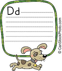 Little dog or puppy, for ABC. Alphabet D