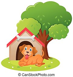 Little dog sitting in the doghouse