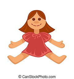 Vector illustration of small cheerful doll in red dress isolated on white.