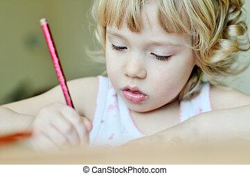 little drawing girl