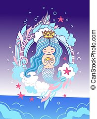 Little dreamy mermaid with crown, blue hair, surrounded by seaweed, clouds, starfish.