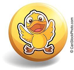 Little duckling on round badge