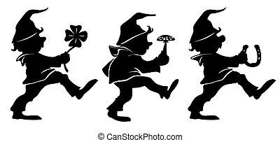 dwarf - little dwarfs dancing with good luck charm