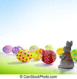 Little Easter bunny and Easter eggs