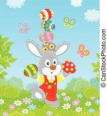 Little Easter Bunny juggler