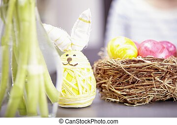little easter bunny with eggs