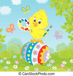 Little Easter chick painter