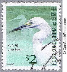Little egret - HONG KONG, CHINA - CIRCA 2006: A stamp ...