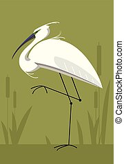 Little Egret, minimalistic image - Little Egret on green...