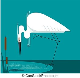 Little Egret stands on one leg on the shore of the lake,...