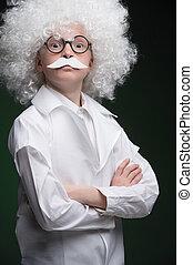 Little Einstein. Confident little boy looking like Einstein...