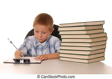 Little Einstein - Young boy studying