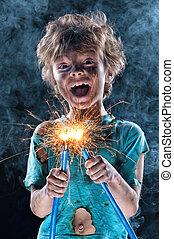 Little electrician - Portrait of little crazy electrician ...