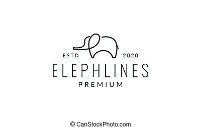 little elephant line minimalist logo vector illustration design