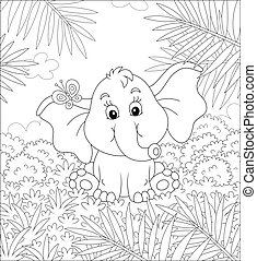 Little elephant playing with a butterfly - Funny small baby ...