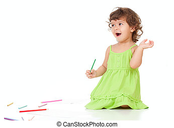 Little emotional girl with green pencil and big copyspace isolated