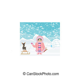 little Eskimo girl and her dog