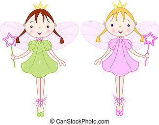 Little fairies - Two cute fairies with magic wand