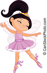 Little fairy ballerina - Illustration of a happy little...