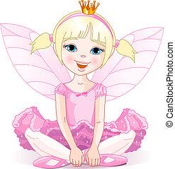 Little fairy ballerina - Little fairy ballerina sitting on a...