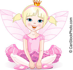 Little fairy ballerina sitting on a floor. All objects are ...
