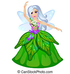 Little fairy elven princess isolated on white background. Vector cartoon close-up illustration.