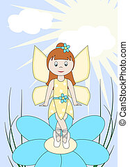 Little fairy with wings and flower in hair