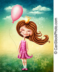 Little fairy girl with balloon - Little fairy girl with pink...